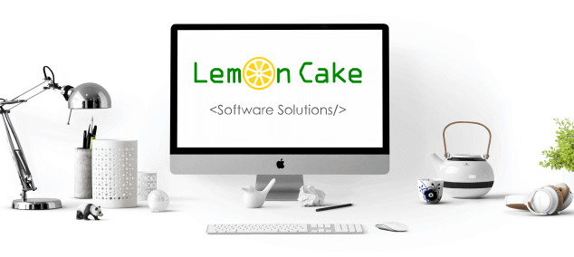 Website Design - Lemon Cake Software Solutions logo on computer screen
