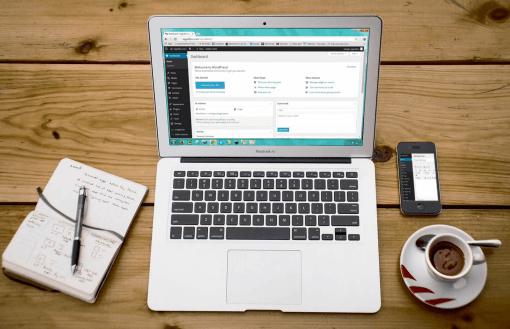 WordPress website on a computer screen